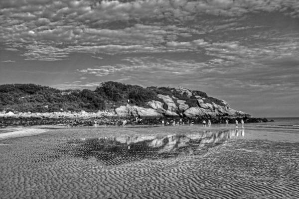 Photograph - Salt Island Off Of Good Harbor Beach Gloucester Ma Reflection Black And White by Toby McGuire