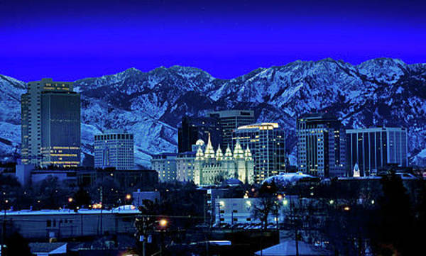 Wall Art - Photograph - Salt Lake City Salt Lake City At Night by Douglas Pulsipher