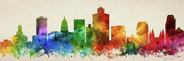 Wall Art - Digital Art - Salt Lake City Skyline Panorama Usutsl-pa03 by Aged Pixel