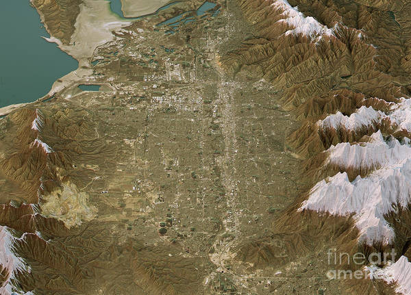 Wall Art - Digital Art - Salt Lake City Topographic Map 3d Landscape View Natural Color by Frank Ramspott
