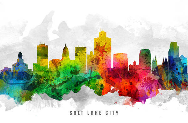Wall Art - Painting - Salt Lake City Utah Cityscape 12 by Aged Pixel