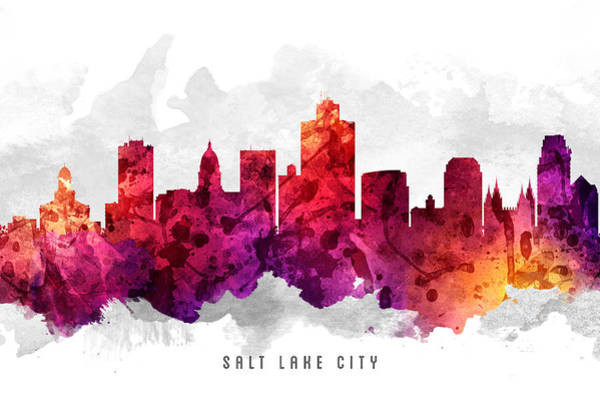 Wall Art - Painting - Salt Lake City Utah Cityscape 14 by Aged Pixel