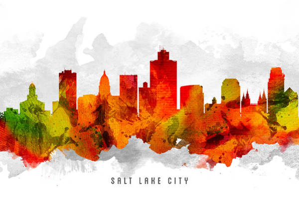 Wall Art - Painting - Salt Lake City Utah Cityscape 15 by Aged Pixel