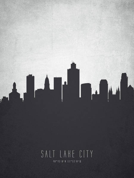 Wall Art - Painting - Salt Lake City Utah Cityscape 19 by Aged Pixel