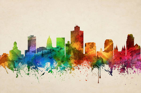 Wall Art - Painting - Salt Lake City Utah Skyline 05 by Aged Pixel
