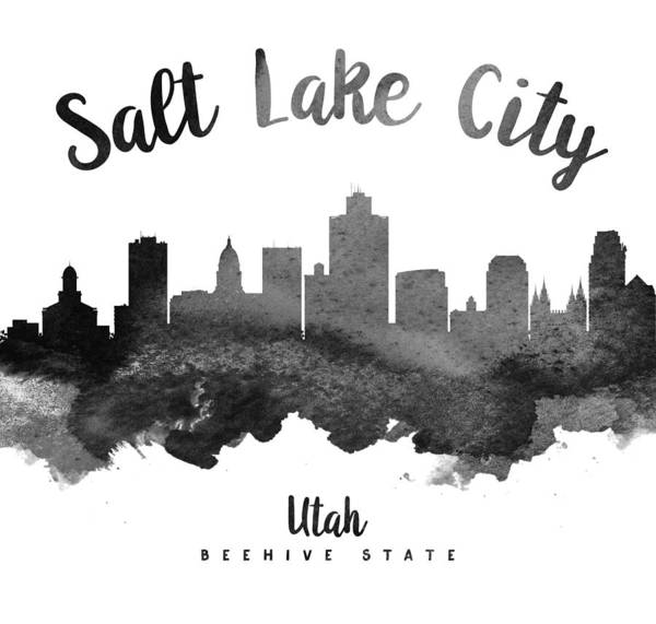 Wall Art - Painting - Salt Lake City Utah Skyline 18 by Aged Pixel
