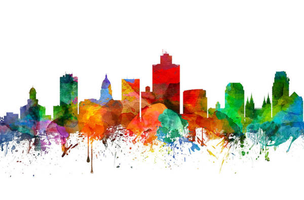 Wall Art - Painting - Salt Lake City Utah Skyline 21 by Aged Pixel