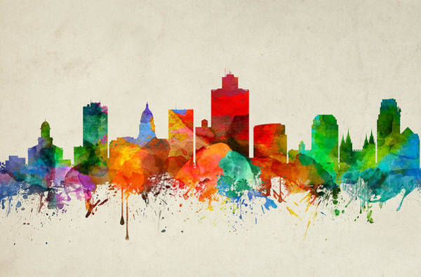 Wall Art - Painting - Salt Lake City Utah Skyline 22 by Aged Pixel