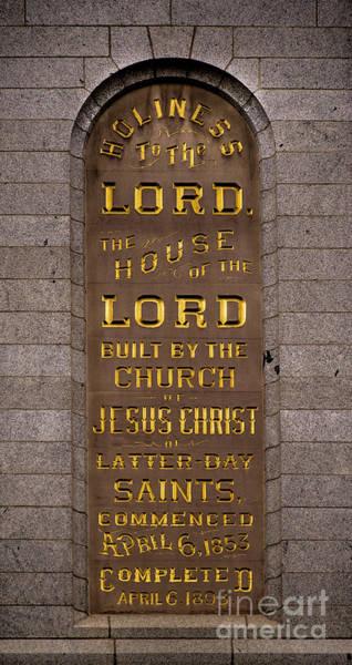 Salt Lake Lds Temple Dedication Plaque Close-up Art Print