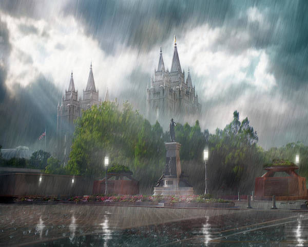Refuge Wall Art - Painting - Salt Lake Temple - Refuge From The Storm by Brent Borup