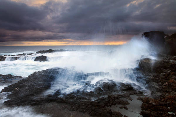 Blowhole Photograph - Salt Spray Sunset by Mike  Dawson