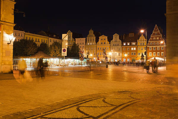 Tenement Photograph - Salt Square In Wroclaw At Night by Artur Bogacki