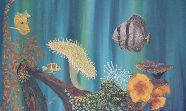 Clownfish Painting - Salt Water Life by Merrie Giles