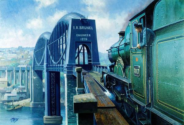 Vintage Train Painting - Saltash Bridge. by Mike Jeffries