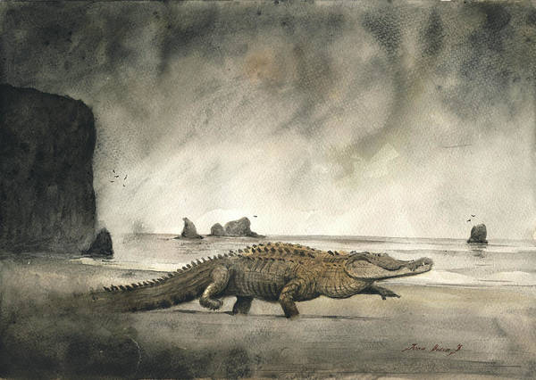 Large Wall Art - Painting - Saltwater Crocodile by Juan Bosco