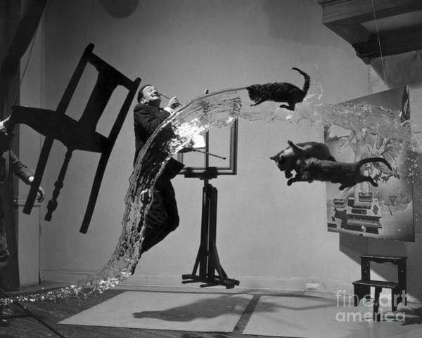 Jumping Photograph - Salvador Dali 1904-1989 - To License For Professional Use Visit Granger.com by Halsman