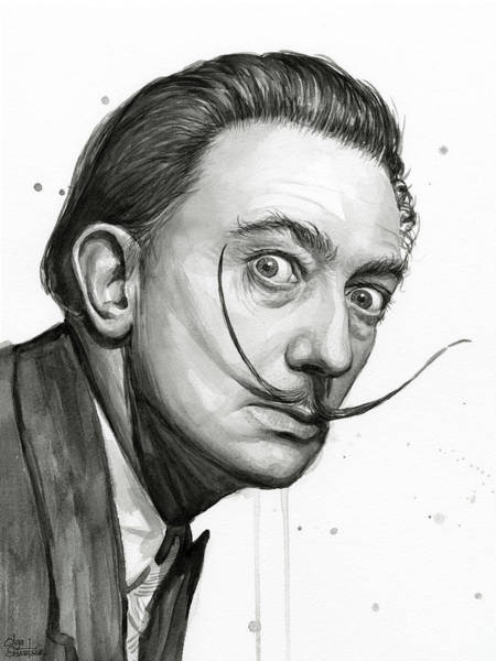 Mustache Painting - Salvador Dali Portrait Black And White Watercolor by Olga Shvartsur