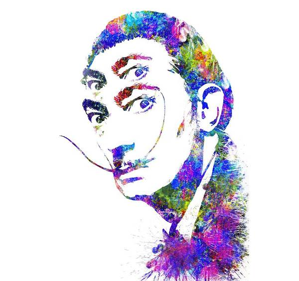 Salvador Dali Painting - Salvador Dali Watercolor Digital Portrait Optic Illusion 2 by Georgeta Blanaru