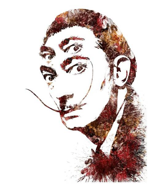Salvador Dali Painting - Salvador Dali Watercolor Digital Portrait Optic Illusion Fall Colors by Georgeta Blanaru