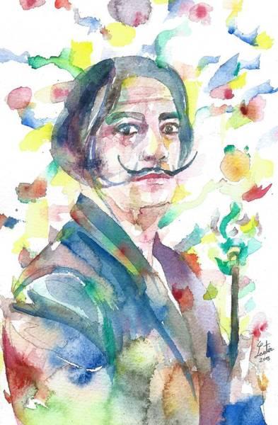 Salvador Dali Painting - Salvador Dali - Watercolor Portrait.3 by Fabrizio Cassetta