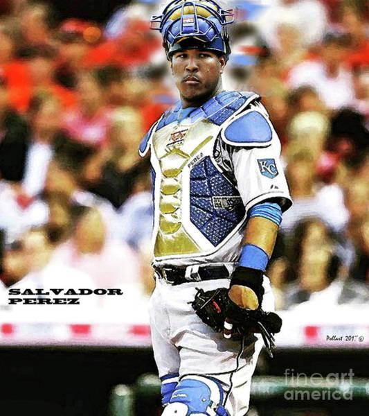St Louis Cardinals Mixed Media - Salvador Perez, Kansas City Royals by Thomas Pollart