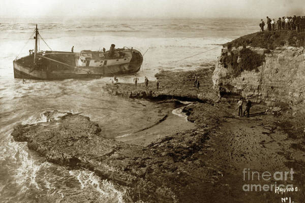 Photograph - Salvaging The Shipwreck Of The Coastal Freighter La Feliz Oct. 1 1924 by California Views Archives Mr Pat Hathaway Archives
