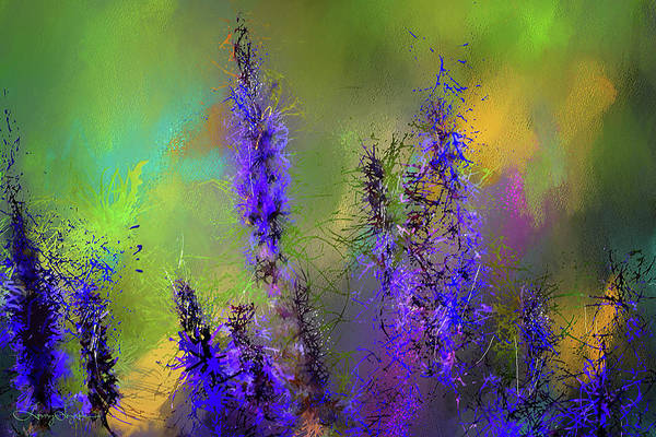 Painting - Salvia May Night Art -purple Modern Abstract Art by Lourry Legarde
