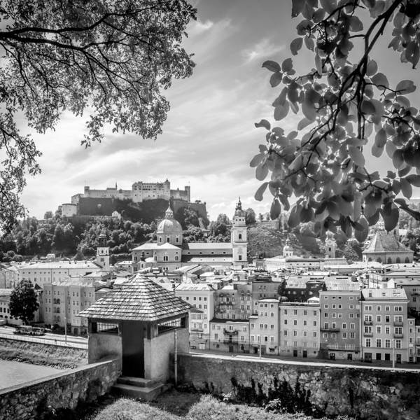 Mozart Photograph - Salzburg Gorgeous Old Town With Citywall Monochrome by Melanie Viola