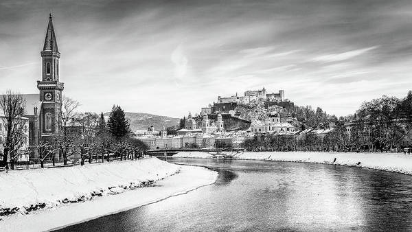 Wall Art - Photograph - Salzburg Winter Fairy Tale Bw by JR Photography