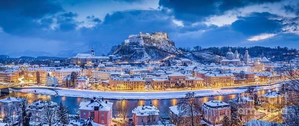 Wall Art - Photograph - Salzburg Winter Twilight Panorama by JR Photography