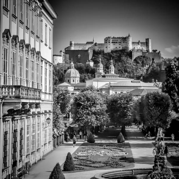 Castle Garden Photograph - Salzburg Wonderful View To Salzburg Fortress Monochrome by Melanie Viola