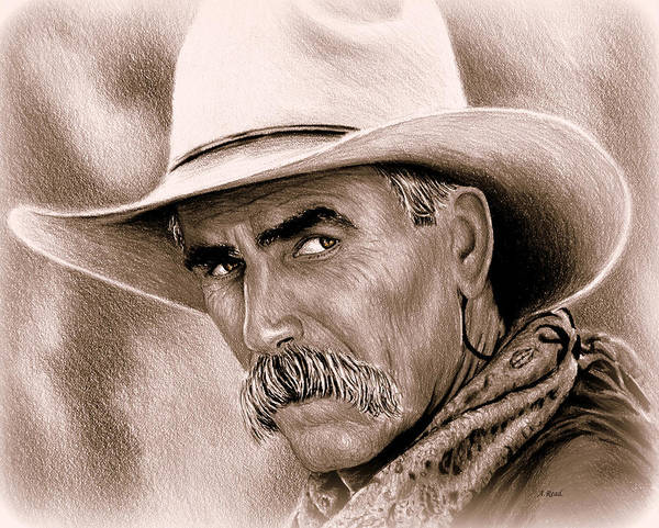 Wall Art - Drawing - Sam Elliot Cowboy Sepia by Andrew Read