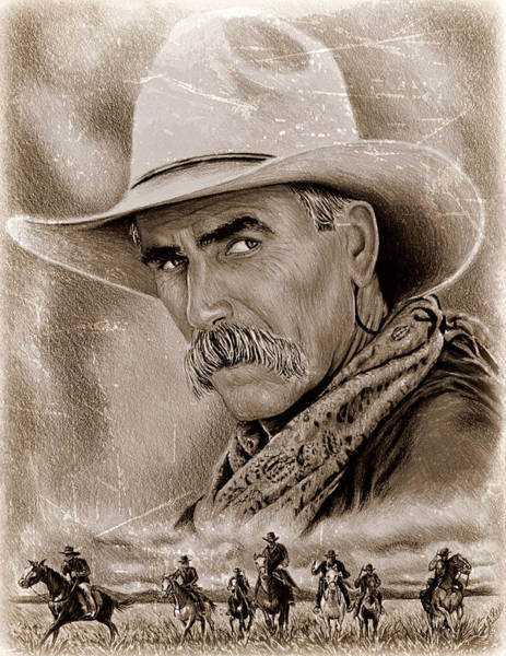 Scarf Drawing - Sam Elliot Cowboy Ver 4 by Andrew Read