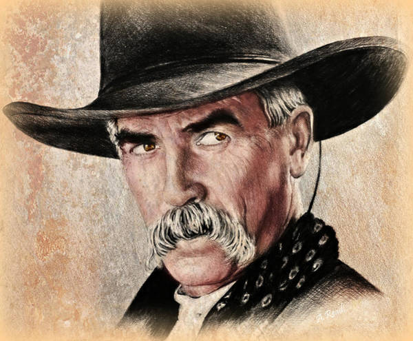 Wall Art - Drawing - Sam Elliot Portrait Ver by Andrew Read