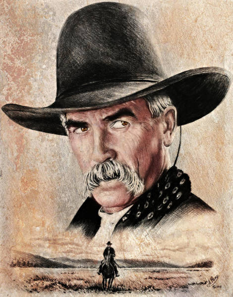 Wall Art - Painting - Sam Elliot The Lone Rider Sepia by Andrew Read