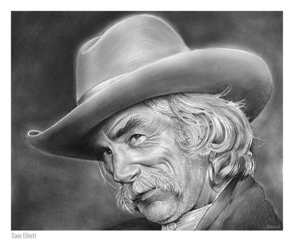 Cowboy Drawing - Sam Elliott by Greg Joens