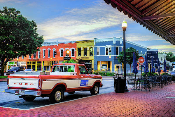 Photograph - Sam Walton Old Ford Truck And Downtown Bentonville Skyline by Gregory Ballos