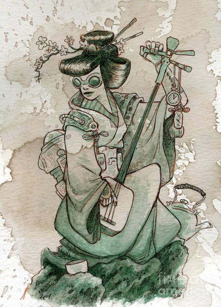 Japan Painting - Samisen by Brian Kesinger