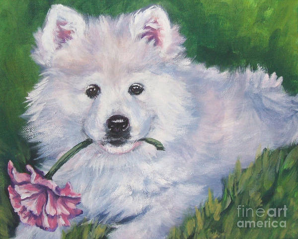 Wall Art - Painting - Samoyed Pup With Peony by Lee Ann Shepard