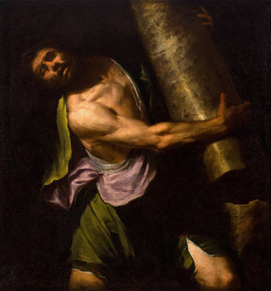 Luciano Wall Art - Painting - Samson In The Temple by Luciano Borzone