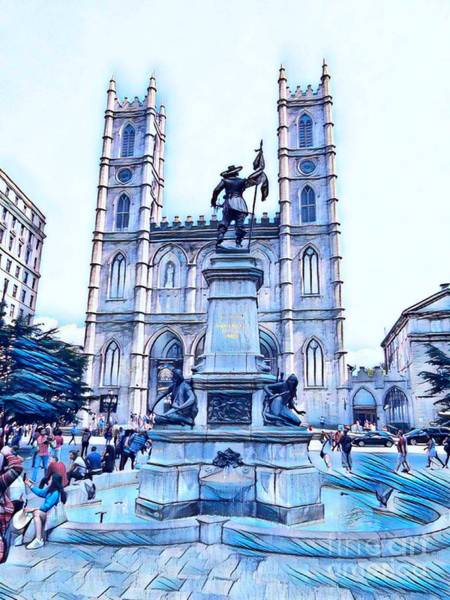Wall Art - Mixed Media - Samuel Champlain And The Notre Dame Cathedral In Old Montreal In Blue by John Malone