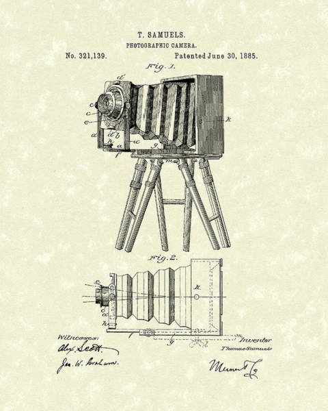Drawing - Samuels Photographic Camera 1885 Patent Art by Prior Art Design