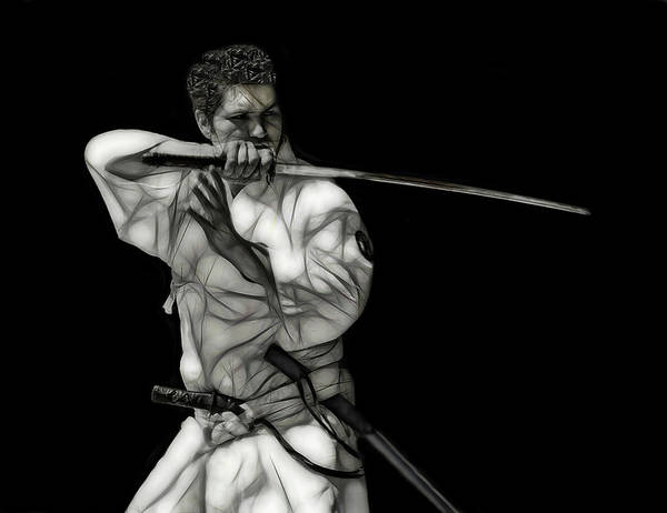 Wall Art - Digital Art - Samurai Master Wielding The Katana Sword  by Daniel Hagerman