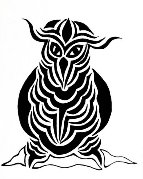 Drawing - Samurai Owl by Beth Akerman