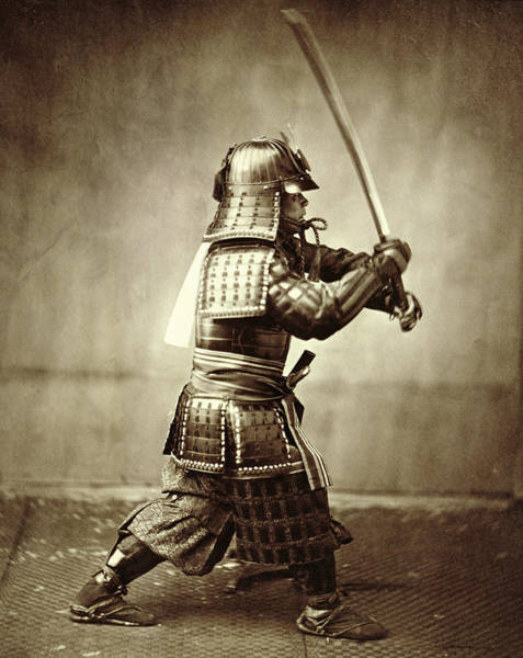 Armored Photograph - Samurai With Raised Sword by F Beato