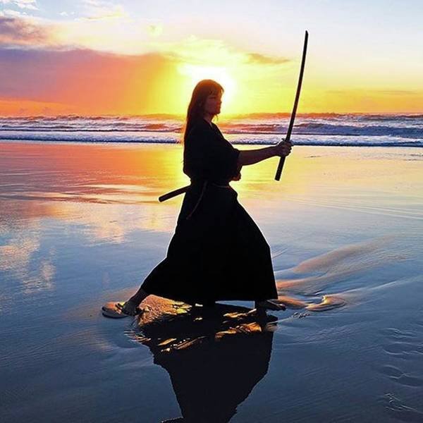 Katana Photograph - Samurai Woman On The Beach At Sunset by Worldfotoart  Masselink