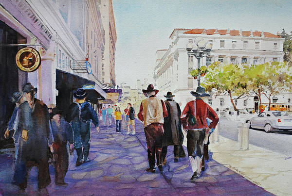 Painting - San Antonio Cowboys by P Anthony Visco