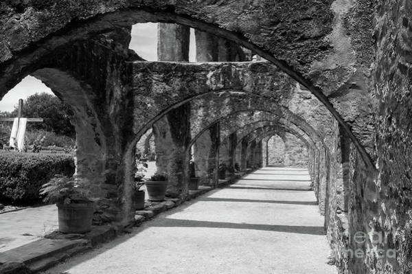 Photograph - San Antonio Mission Arches In Black And White by Paul Quinn