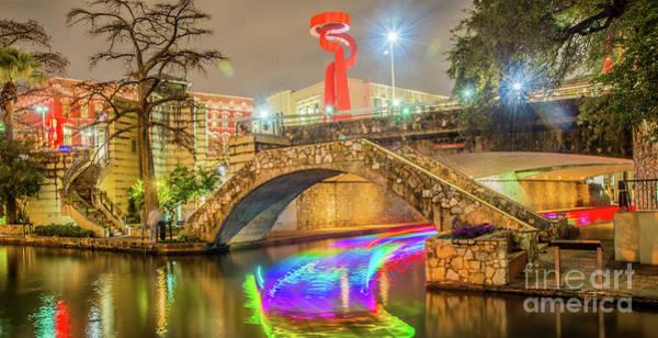 Wall Art - Photograph - San Antonio River Walk With La Antorcha De La Amistad  by Michael Tidwell