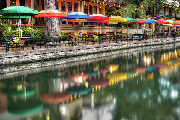 Photograph - San Antonio Riverwalk And Colorful Umbrellas by Gregory Ballos